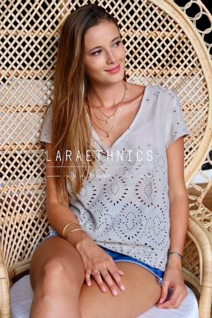 SHORT SLEEVE TOP WITH ENGLISH EMBRO